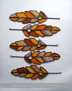5 elements for stained glass pendant Feathers. Sun by DizArtEx