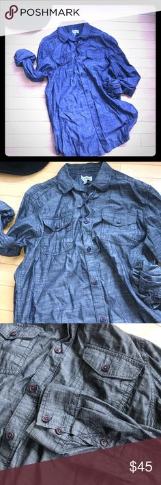 Men's Medium Chambray 100%Cotton Button Down shirt Men's  Le Chateau Medium Chambray 100% Cotton Button Down shirt . ✨ Made in India➰ One Size Fits Most ! Pre-loved , great condition .  Cute for wearing alone button or closed and with under and over shirt layers . Light weight . 😚Any questions just ask ! 🔴BUNDLE AND SAVE🔴 LE CHATEAU Shirts Casual Button Down Shirts
