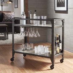 Metropolitan Charcoal Grey Industrial Metal Mobile Bar Cart With Wood  Shelves By INSPIRE Q Artisan (Charcoal Industrial Bar Cart), Black