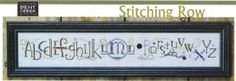 """Stitching Row"" is the title of this cross stitch pattern from Bent Creek that is stitched with Weeks Dye Works (Galvanized, Brick, Seaweed ..."