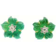 Seaman Schepps rock Crystal Chrysoprase Diamond gold Clematis... ($6,000) ❤ liked on Polyvore featuring jewelry, earrings, multiple, flower clip on earrings, flower earrings, gold flower earrings, gold earrings and clip-on earrings
