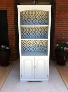 Bookcase / Cabinet With Fabric Lined Back. $250.00, via Etsy.