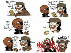 loki trolling nick fury (loki,tom hiddleston,funny,nick fury,loki'd)