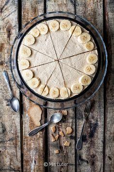 © Mis Lutier: Cheesecake helada de plátano y crema de cacahuete