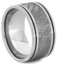 #Jewelry #WeddingBands Mens Meteorite Ring With Black Enamel Pinstripes Titanium Wedding Band