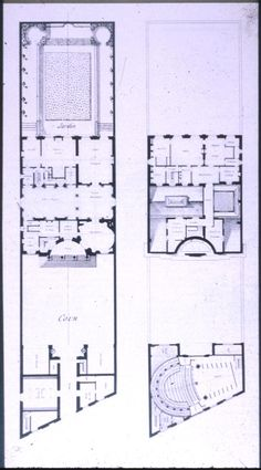 Plans, Hôtel de Mlle Guimard, Claude-Nicolas Ledoux, Note the theater. French Architecture, Architecture Drawings, Architecture Details, Baron Haussmann, Claude Nicolas Ledoux, Paris Suburbs, Madame Du Barry, Neoclassical, 18th Century