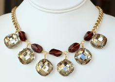 Garnet Crystal Drops Collar by DesignsbyStacyLee on Etsy