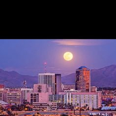 Downtown Tucson with Mountains and Full Moon