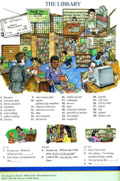 72 - THE LIBRARY - Pictures dictionary - English Study, explanations, free exercises, speaking, listening, grammar lessons, reading, writing, vocabulary, dictionary and teaching materials