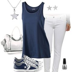 Cute Navy Tank Top & White Jeans Outfit with Converse All Stars