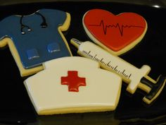 Items similar to 12 Medical/Nurse themed cookies on Etsy Nurse Cupcakes, Nurse Cookies, Iced Cookies, Fun Cookies, Cupcake Cookies, Sugar Cookies, Sugar Cookie Frosting, Royal Icing Cookies, Cookie Decorating Icing