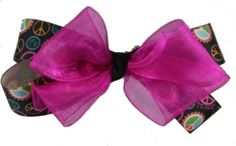 Peace Sign and Hot Pink Hair Bow - $9.99