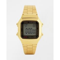 Casio Gold Digital Vintage Style Watch A178WGA-1 (79 CAD) ❤ liked on Polyvore featuring men's fashion, men's jewelry, men's watches, gold, vintage style mens watches, casio mens watches, mens digital watches and mens gold watches