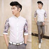 Exclusive! 3/4 Sleeve Summer Man Flower Splicing Shirt Slim Party Club Wear Dress Shirt 2014 Hot Selling