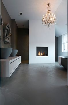 Minimal bathroom, dark Matt bath and sinks, concrete black floor. This is so gorgeous and serene. (not the fireplace tho, eaven if its gorgeous) Design Moderne, Deco Design, Bathroom Interior, Modern Bathroom, Minimal Bathroom, Cement Bathroom, Bathroom Bath, Design Bathroom, Bath Tub