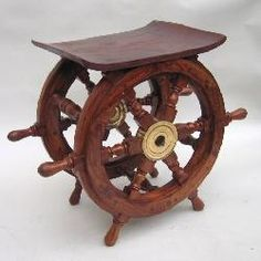 "Ship Wheel Wood Side End Table 18"" Large Nautical"
