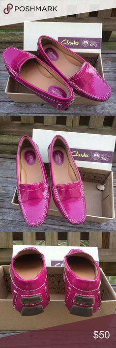 BNIB Clarks Fuscia Flats Loafers Great fuschia color for spring. Somewhere between purple and pink. Super comfortable with padded insoles and soles. Clarks Shoes Flats & Loafers