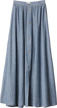 L V E This skirt takes me back about 30 years in time.loved it then, have worn it to pieces. Maxi Outfits, Modest Outfits, Modest Fashion, Cute Outfits, Chambray Skirt, Modest Skirts, Kinds Of Clothes, Fashion Lighting, Get Dressed