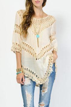 Crochet Inset Woven Top $25.99