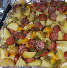 Smoked Sausage and Potato Bake Sausage And Potato Bake, Smoke Sausage And Potatoes, Sausage And Peppers, Baked Sausage, Sausage Meals, Sausage Rice, Stuffed Green Peppers, Stuffed Jalapenos, Cooking Recipes