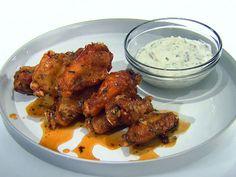 Honey-Rosemary Wings with Greek Yogurt and Lemon Garlic Dipping Sauce recipe from Anne Burrell via Food Network