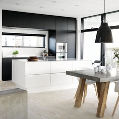 She danced all night.and all the way home. All White Kitchen, Black Kitchens, New Kitchen, Cool Kitchens, Kitchen Dining, Kitchen Decor, Dinning Table, Kitchen Interior, Home Interior Design