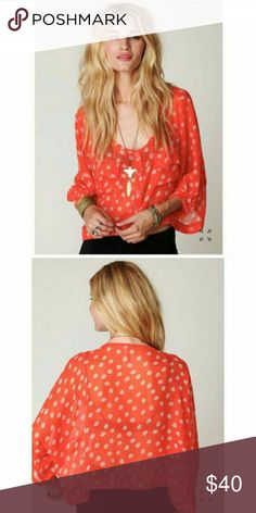 Free People Orange Crop Top Size XS. In excellent condition. Slightly slouchy and sheer Free People Tops
