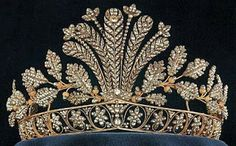 Cut Steel Tiara Of The Swedish Monarchy, The Feather And Leaf Tiara Is Often Worn By The Crown Princess Victoria, But Was Worn Previously By Her Mother, Queen Silbvia