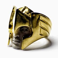 Mercurius ring by Macabre Gadgets: gold, coral. Available at STORE-MACABREGADGETS.COM mens jewelry, fashion, fine jewelry, homme, black