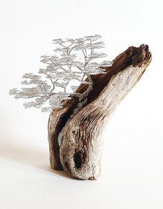 Treibholz mit mit Bonsai aus Draht / Driftwood Sculpture / Driftwood Art / Driftwood por BonsaiWireTree