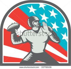 Illustration of an american football gridiron quarterback player throwing ball viewed from the side side set inside crest shield with usa stars and stripes flag background done in retro woodcut style. #Americanfootball #woodcut #illustration