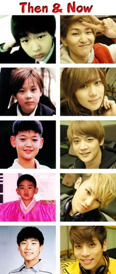 SHINee top to bottom: onew, taemin, minho, key, & Jonghyun ... ( now & then ) .... onew is almost the same :)
