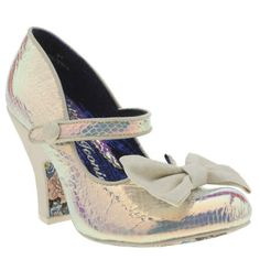 For show-stopping high heels, you can always rely on Irregular Choice. Fancy This Party People is another fine example - the white holographic faux-snakeskin upper features a glitter encrusted bow and 10cm block heel. These are not to be missed.