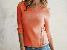 Perfect for summer, this light and airy sweater features eyelet designs down the sides and sleeves.