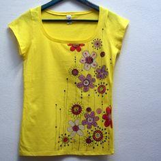 Malované triko žluté květnané M/L