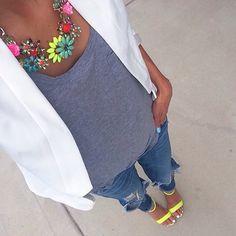 White blazer, gray tee, neon necklace and neon heels