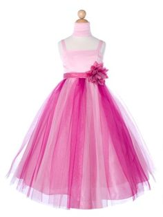 Gorgeous Pink/Fuchsia Two-Toned Tulle Skirt Flower Girl Dress (Sizes 2-16 in 5 colors)