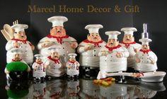 frog kitchen decor | Kitchen Decor Bistro Fat Chef Canisters 15 pcs sets