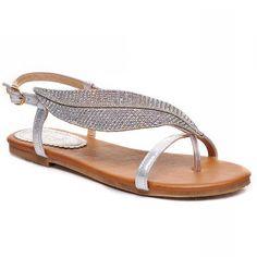 Stylish Rhinestones and Leaf Pattern Design Women's Flat SandalsSandals | RoseGal.com