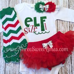 Baby Girl Christmas Outfit Elf Size First Christmas Oufit Toddler Elf Outfi Christmas Tutu Outfit  Red and Green Leg Warmers Elf Size Outfit ThreeSweetLimes