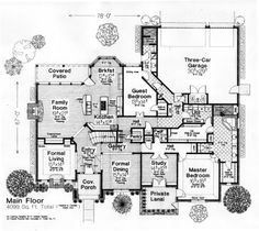 First Floor Plan of European   French Country   House Plan 66117-  laundry room off the master closet