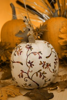 Decoupaged pumpkin for the holiday table.../
