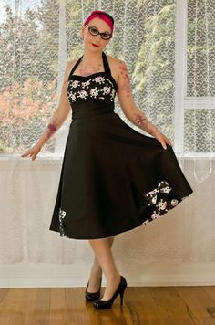 """1950's """"Phoebe"""" Style Rockabilly Pin up Dress with Skull Bodice and Sweetheart Neckline and Bow Detail - custom made to fit by PixiePocket on Etsy https://www.etsy.com/listing/108238115/1950s-phoebe-style-rockabilly-pin-up"""