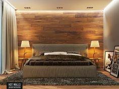 Einrichtungsbeispiele Schlafzimmer Ideen Wand Holz