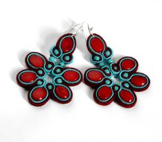 turquoise & coral  soutache earrings   by KimimilaArt