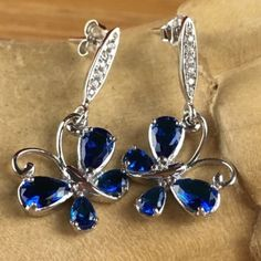 925 Silver 1.5 ctw Blue and White Sapphire Butterfly Dangle Earrings