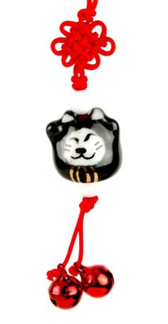 Meow Beckoining Kitty Ceramic Charm with Jingle Bells!