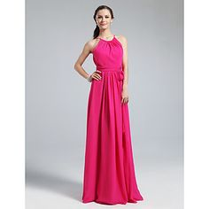 Floor-length Chiffon Bridesmaid Dress - Fuchsia Plus Sizes / Petite Sheath/Column Jewel – USD $ 74.99