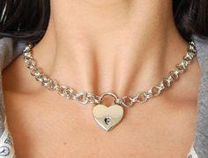 Silver Metal double cable links Locking BDSM Slave Bondage Day Collar Reg. 40.00