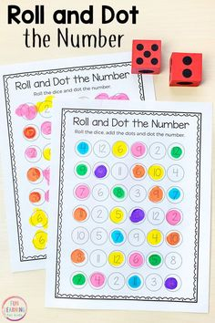 This roll and dot the number activity is fun, hands-on way for kids to learn numbers and develop number sense in preschool and kindergarten. #math #mathcenters #kindergarten #preschool #mathgames #numbersense